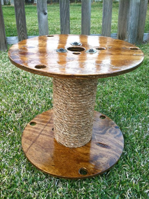 Small spool table reclaimed wood and sisal rope by for Wooden cable reel ideas