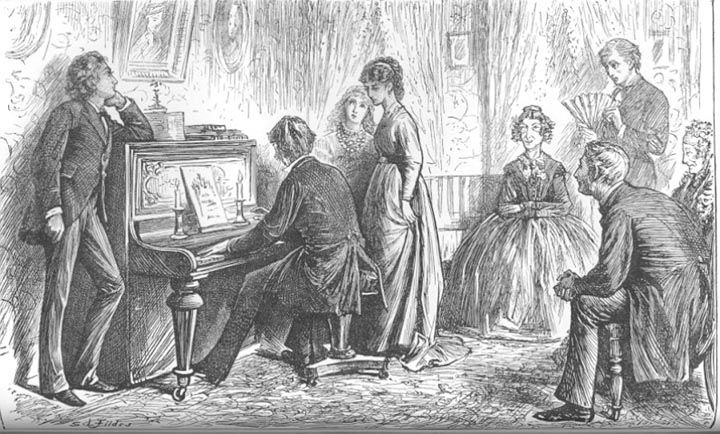 At the Piano by Sir Luke Fildes, illustration for The Mystery of Edwin Drood by Charles Dickens