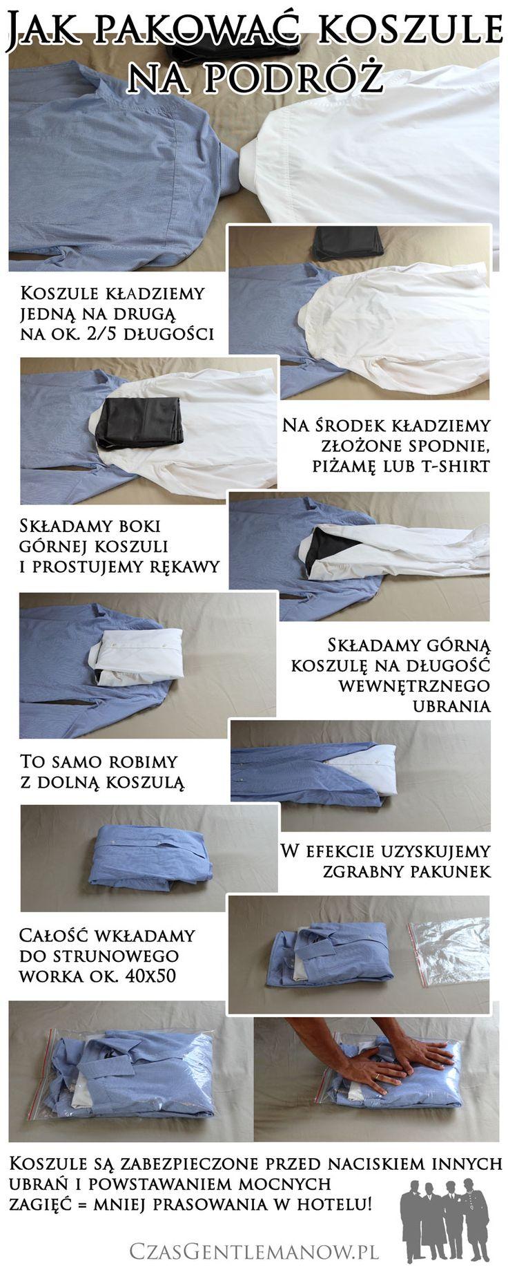 Pakowanie koszuli napodróż - infografika