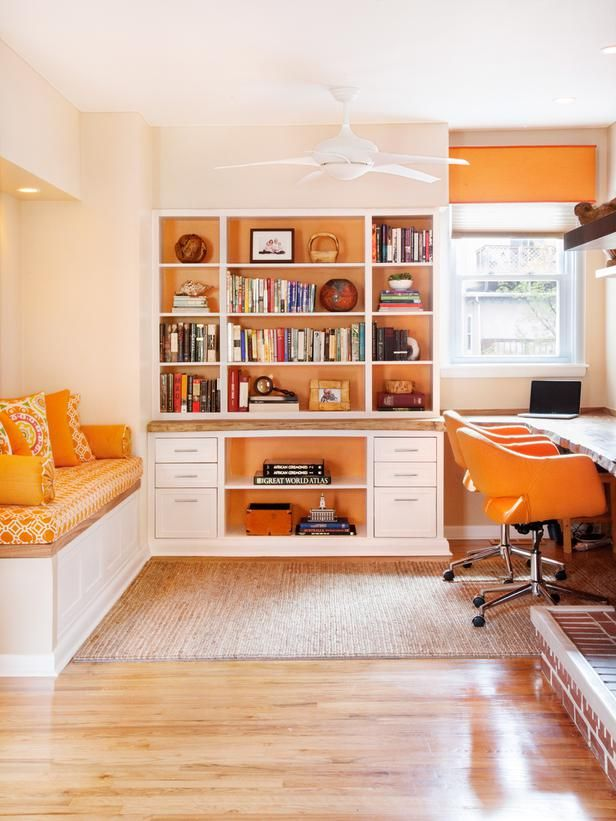 built in seating, storage wall, painted inside the cabinetry, orange accent colors Contemporary | Home Offices | Amy Cuker : Designers' Portfolio : HGTV - Home & Garden Television