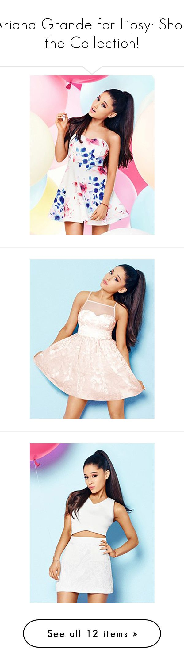 """""""Ariana Grande for Lipsy: Shop the Collection!"""" by polyvore-editorial ❤ liked on Polyvore featuring DateNight, ArianaGrande, lipsy, dresses, floral dress, floral prom dresses, prom dresses, floral print dress, flower print dress and pink dress"""