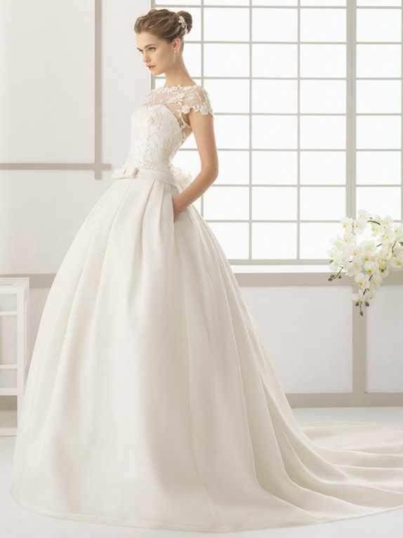 Vintage Braut Kleid A Line Ivory Satin Brautkleider Lange Spitze ...