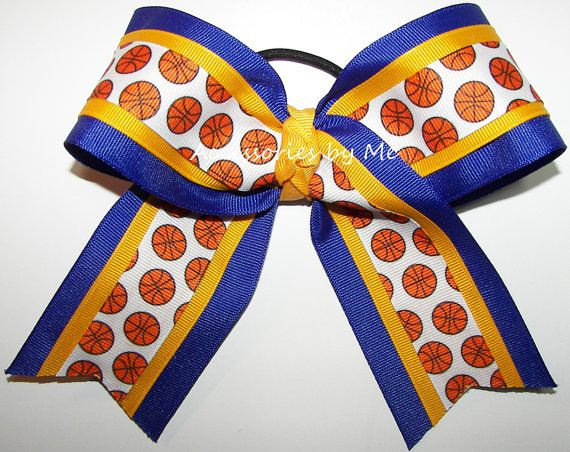 Basketball Bow Blue Gold Hair Bows By AccessoriesbyMe