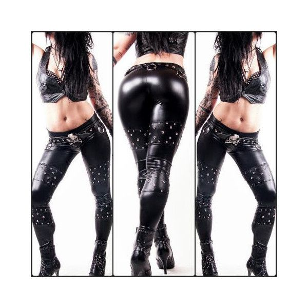 Death Pants Studded Wetlook Fauxleather Leggings Biker Gothic Heavy... ($70) ❤ liked on Polyvore featuring pants, leggings, black, women's clothing, sexy leggings, black pants, faux leather pants, goth leggings and sexy shiny leggings