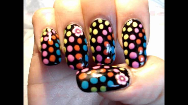 60's Neon Retro Psychedelic Hippie Nail Art by GettingNailed