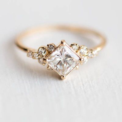 Details about White Sapphire 18K Gold Plated Engagement Wedding Stargaze Ring Size 6 7 8 9 10