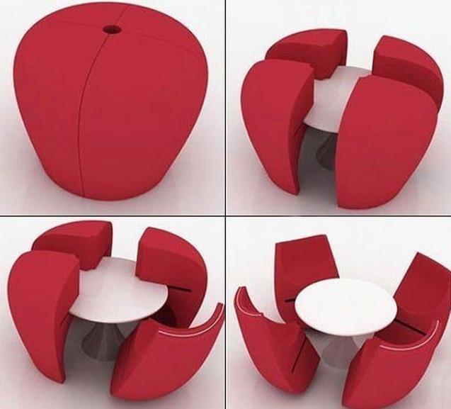 Idea de decoracion de interiores para espacios reducidos: Mesa de diseño moderno y minimalista