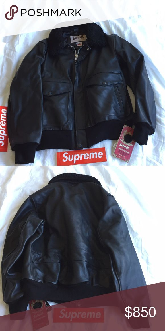 Supreme Schott leather motorcycle fighter jacket 100% authentic and brand new with tags. Real leather. Size medium men's. from Supreme online store. Supreme Jackets & Coats