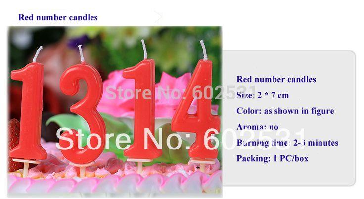 Бесплатная доставка красный цвет цифровой / число 0 - 9 свечи творческий романтической эпохи детской торт ко дню рождения свечи