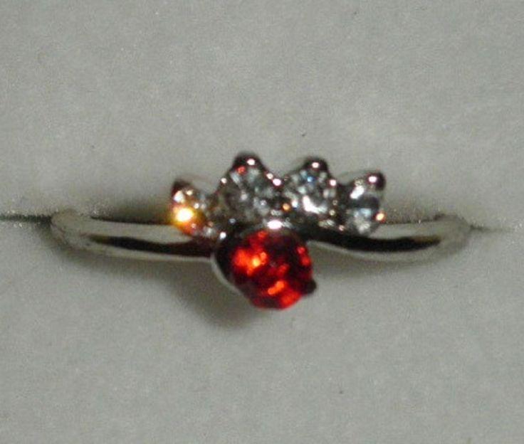 Bague fantaisie femme métal argenté rouge rubis fleur T56 diamant écrin-argent
