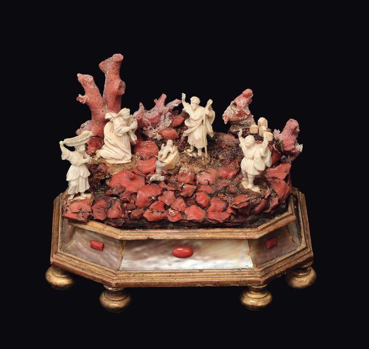 Presepe in avorio scolpito e corallo, Maestranze trapanesi (Bottega dei Tipa?) XVIII secolo
