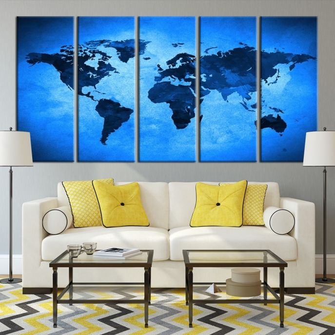 extra large wall art canvas dark blue world map on light blue background
