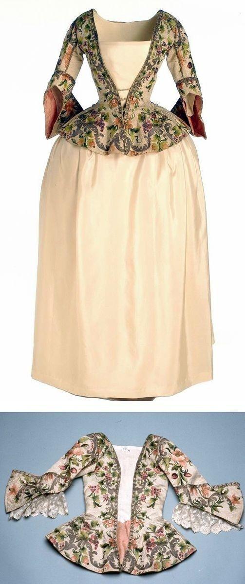 18th century jacket, caraco a la polonaise, over silk habit skirt.