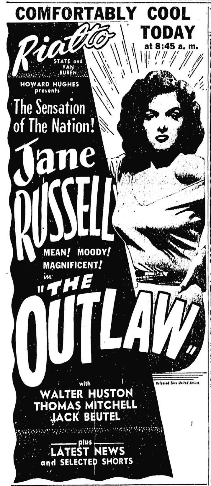 The Outlaw(1943) ※6/26/1947,Chicago Tribune