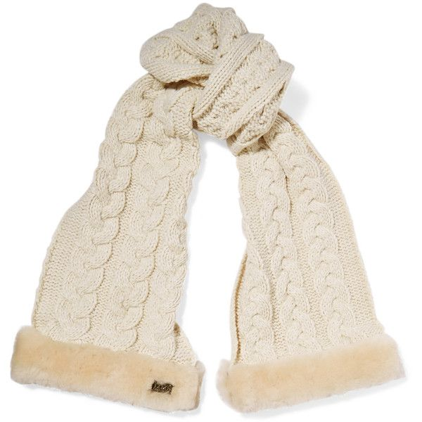 Shop Australia Luxe Collective Shearling-trimmed Cable-knit Scarf in... ($70) ❤ liked on Polyvore featuring accessories, scarves, cable knit shawl, australia luxe collective and cable knit scarves