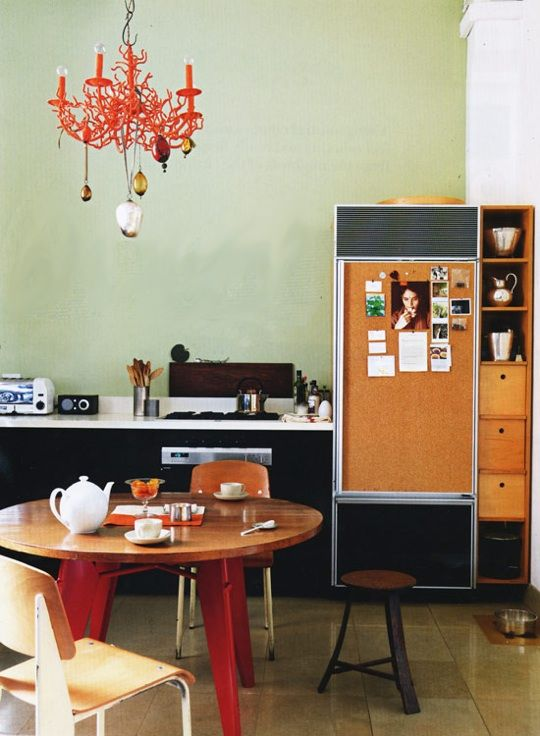 neat refrigerator idea: Orange, Lights Fixtures, Colors, Apartment Therapy, Loft, Stainless Steel Refrigerators, Corks Boards, Coral Lamps, Great Ideas