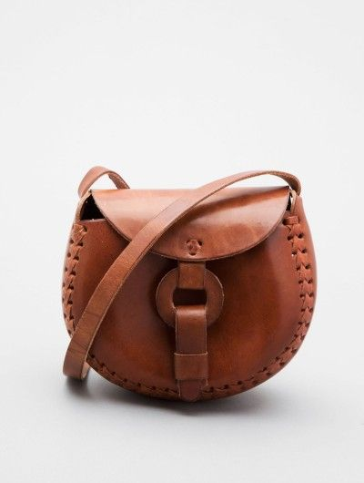 Guatemalan leather sling-across bag. Perfect for summer!