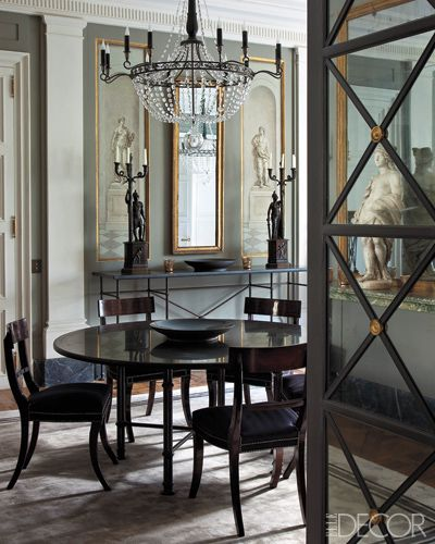 /\§/\ : Frédéric Méchiche : A dining nook behind doors paneled with mercury glass.