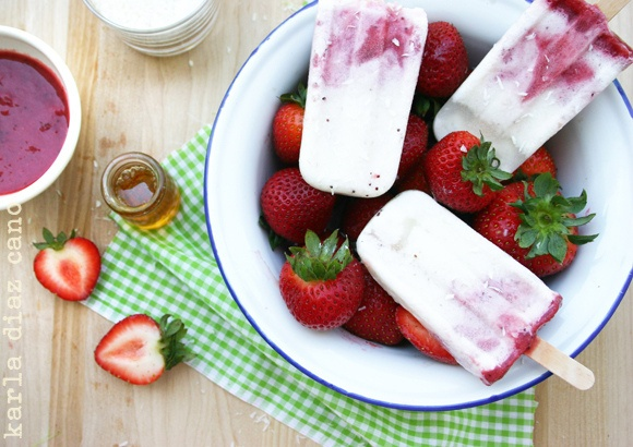 Coconut + Strawberry {Paletas} or Popsicles
