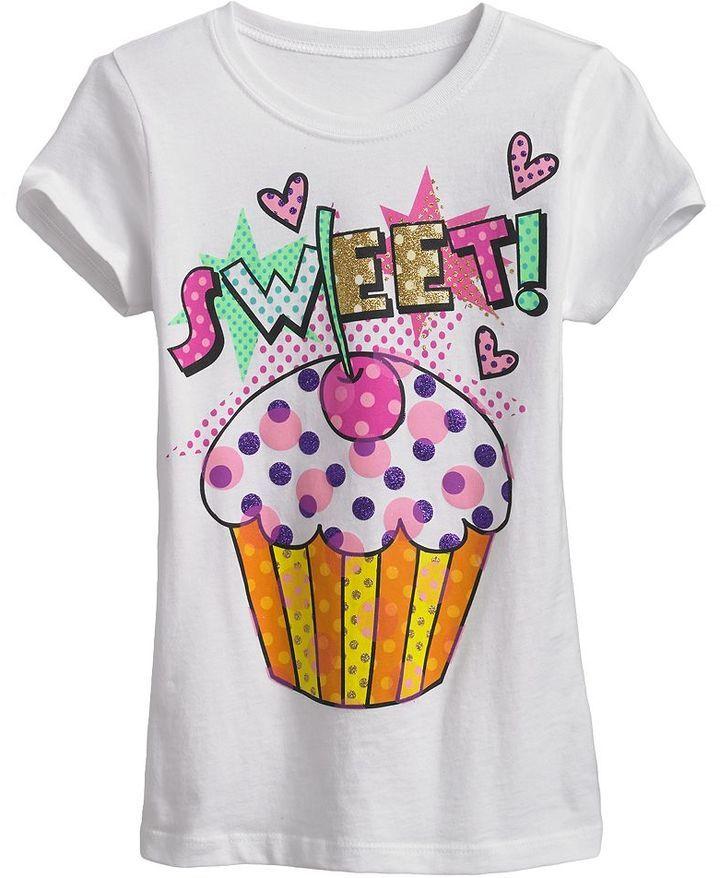 "So ® polka-dot ""sweet!"" cupcake tee - girls 7-16 on shopstyle.com"