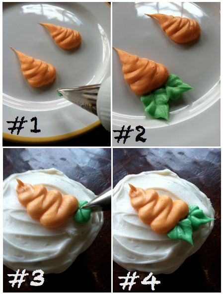 I followed this method with a Wilton's tip#4 tip for the carrots & a Wilton's tip #67 for the leaf. Came out so cute! Yay! I made carrots alas!******LL