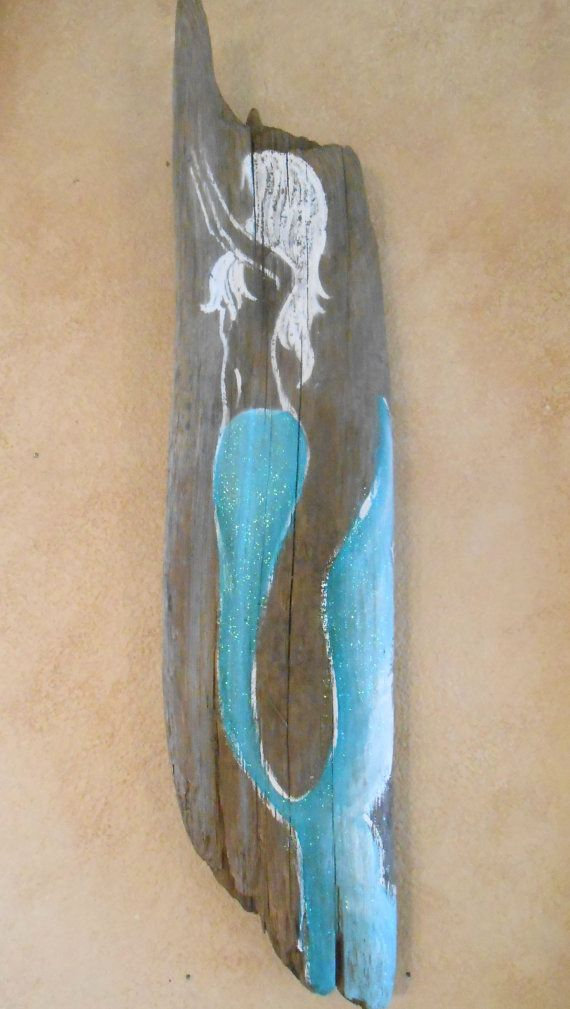 Hand Painted Mermaid on Driftwood , Beach, Glittered, Sign, Painting This little mermaid sign measures a little more than 25 inches tall and is a