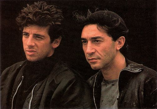 Richard Berry, Patrick Bruel. French postcard by Editions F. Nugeron. Photo: publicity still for L'Union Sacrée/Brothers in Arms (Alexandre Arcady, 1989).