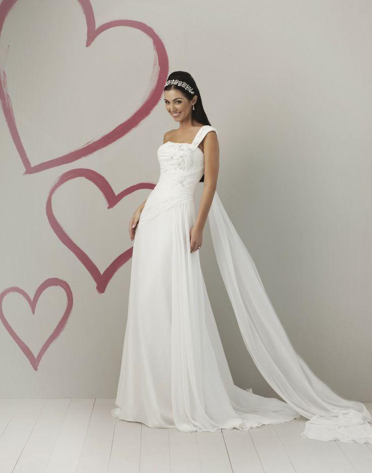 One-shoulder Hand-Beaded Bodice A-line Wedding Dress