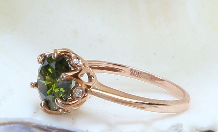 10K Peridot Diamond Engagement Ring