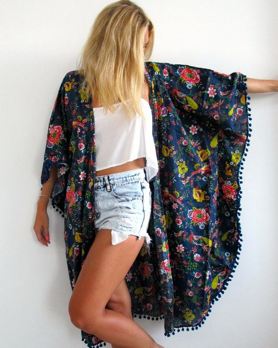 Hey, I found this really awesome Etsy listing at https://www.etsy.com/listing/183873932/pom-pom-kimono-midnight-peacock-print