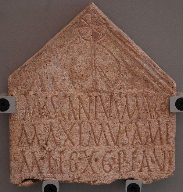 Description  Tombstone of Scanius of X Gemina (Nijmegen; EDCS-08901053)  Details  M(arcus) Scanius M(arci) Vol(tinia)  Maximus Amp(hipoli)  mil(es) leg(ionis) X G(eminae) P(iae) F(idelis) a(nnos) vi(xit)  LI...  Date  71 CE–103 CE