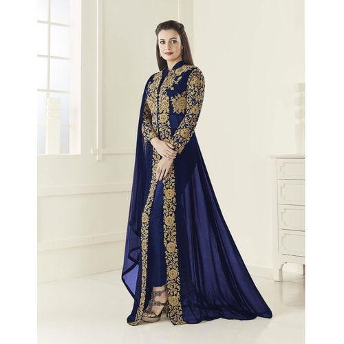 233e268006 Craftsvilla Blue Color Bangalore Gerogette Embroidered Semi-stitched Circular  Anarkali Suit
