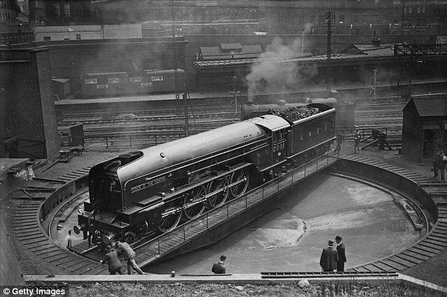 Turn around: The London and North Eastern Railway Class P2 locomotive, No. 2001, Cock o' The North, on the turntable at King's Cross in June 1934. The new engine had arrived from the LNER works in Doncaster