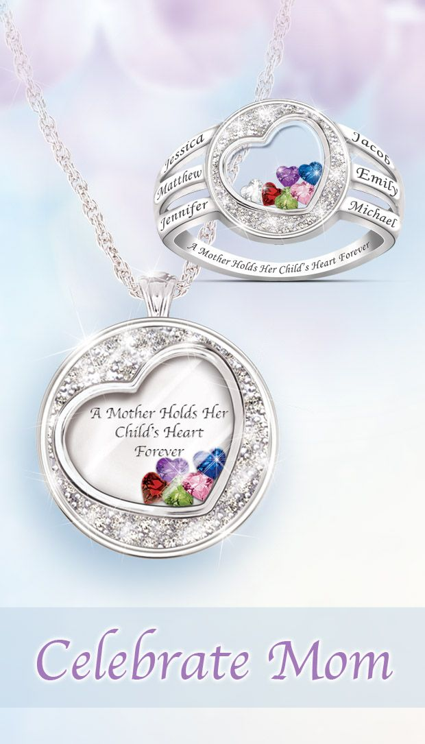 """A perfect pair, this dazzling duo of personalized jewelry gifts for Mom showcases the engraved names of her beloved family members and their """"floating"""" birthstone hearts. Order these for your mom today and make sure she has the best Mother's Day ever."""