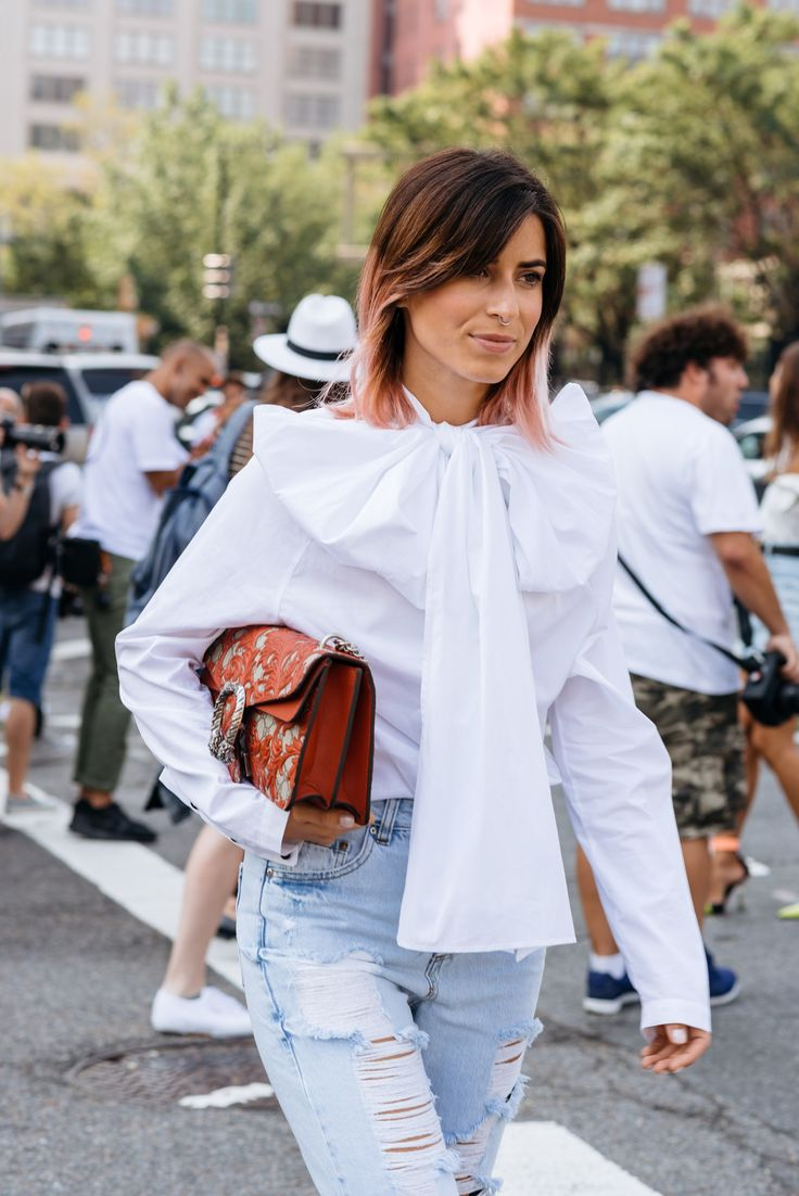 Ombré pink hair, statement bow, vintage denim and Gucci dionysus bag street style at NYFW - Photo by Maria Gibbs