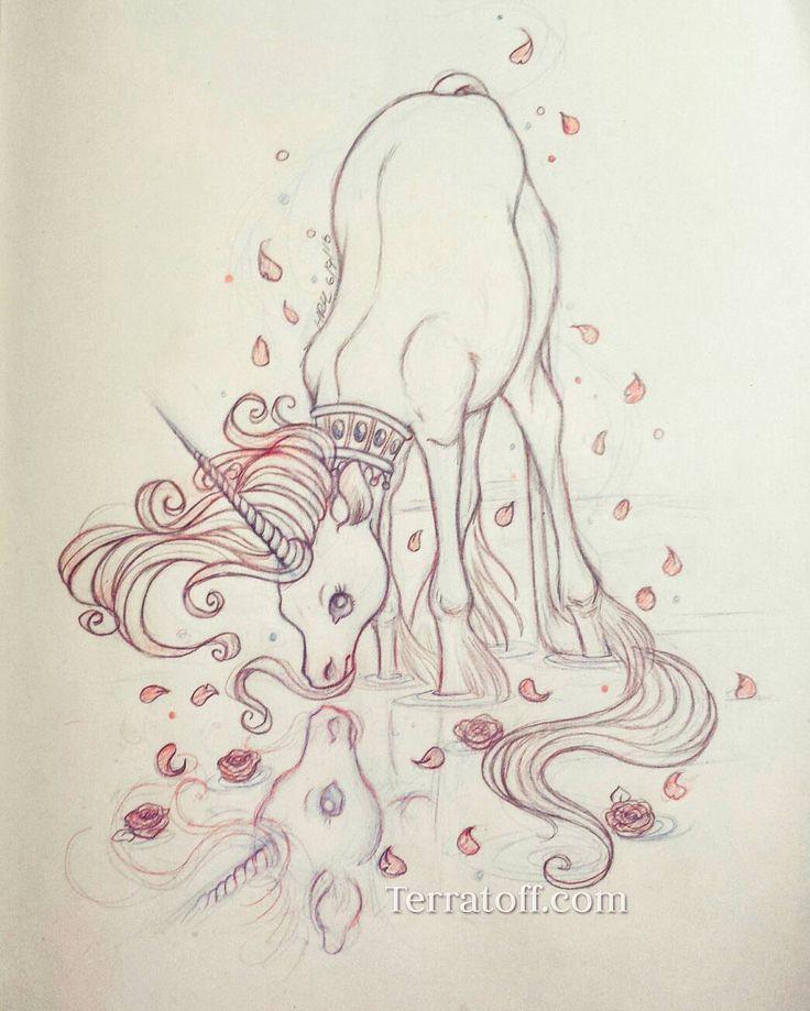 Reflection Unicorn Graphite Illustration by HeatherHitchmanArt