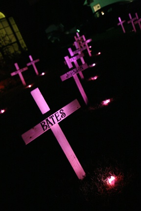 Our DIY spooky, lit graveyard crosses!