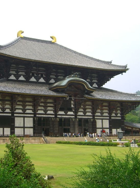 TODAI-JI, Japan: is a Buddhist temple in the city of Nara. Its Great Hall houses the world's largest bronze statue of the Buddha Vairocana. Deer, regarded as messengers of the gods in the Shinto religion, roam the grounds freely. The beginning of the Tōdai-ji can be dated to 728, when Emperor Shōmu established a temple in thanks for the birth of Prince Motoi, the emperor's first son with his Fujiwara clan consort Kōmyōshi. Prince Motoi died a year after his birth.