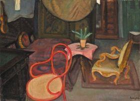 Berény Róbert - Enteriőr vörös thonet-székkel, 1926 után