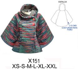 X151 poncho cruzado con gorro, largo 63 cms. consumo tela 1.80 metros (talla l) aprox. consumo forro 0.90 metros (talla l) aprox. tela: lanilla, muflon, polar. Forro: jersey lycra, poli-viscosa.