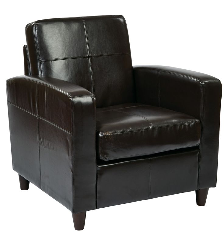 Ave Six Ave Six Venus Club Chair in Environmentally Friendly Espresso Bonded Leather & Solid Wood Legs