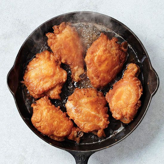 """And here is the beauty of the cast iron skillet:  """"Make nongreasy fried food in a cast-iron skillet, like our finger-licking good Skillet-Fried Chicken. I need one!"""" And she should get one too..nothing like cooking with cast iron."""