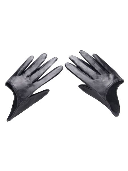 Black Real Leather Half Gloves | Choies