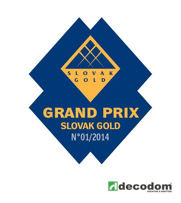 Certifikát GRAND PRIX Slovak GOLD - Ocenenie za rok 2014 - vynikajúce ekonomické a hospodárske výsledky Decodom, spol. s r.o.