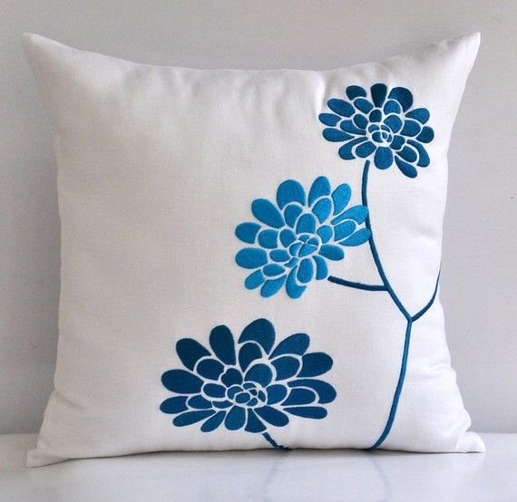 Turquoise Peony Accent Pillow Cover - Decorative Throw Pillow Cover 18 x 18, White Linen, Turqoise Flower Pillow, Embroidered Pillow Cover