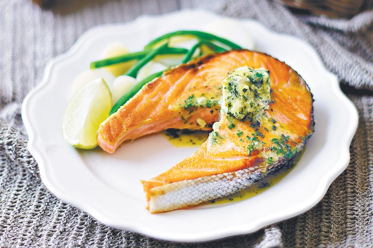 Salmon cutlets with lime and coriander butter