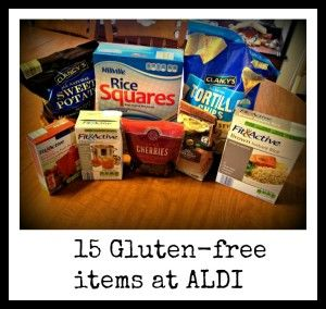 I went to ALDI and found 18ish gluten-free items (that weren't totally obvious)  but 15 seemed like a nicer number...