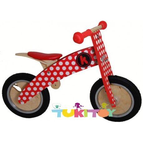 Bicicleta aprendizaje de madera Kiddimoto kurve rojo dotty #Kiddimoto  #bicicletas #sinpedales de madera #Kiddimoto son perfectas para el #aprendizaje. Estas #bicicletas desarrollan la #motricidad gruesa, el sentido del #equilibrio y la #coordinación. Les enseña a controlar el espacio aumentando su autoconfianza y #seguridad. Fabricada en madera resistente y ligera a la vez permitirá al #niño desplazarse sin mayor dificultad, el sillín es regulable a distintas alturas