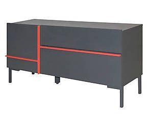 Credenza a 2 cassetti in mdf e metallo Juicy grigio - 140x66x45 cm