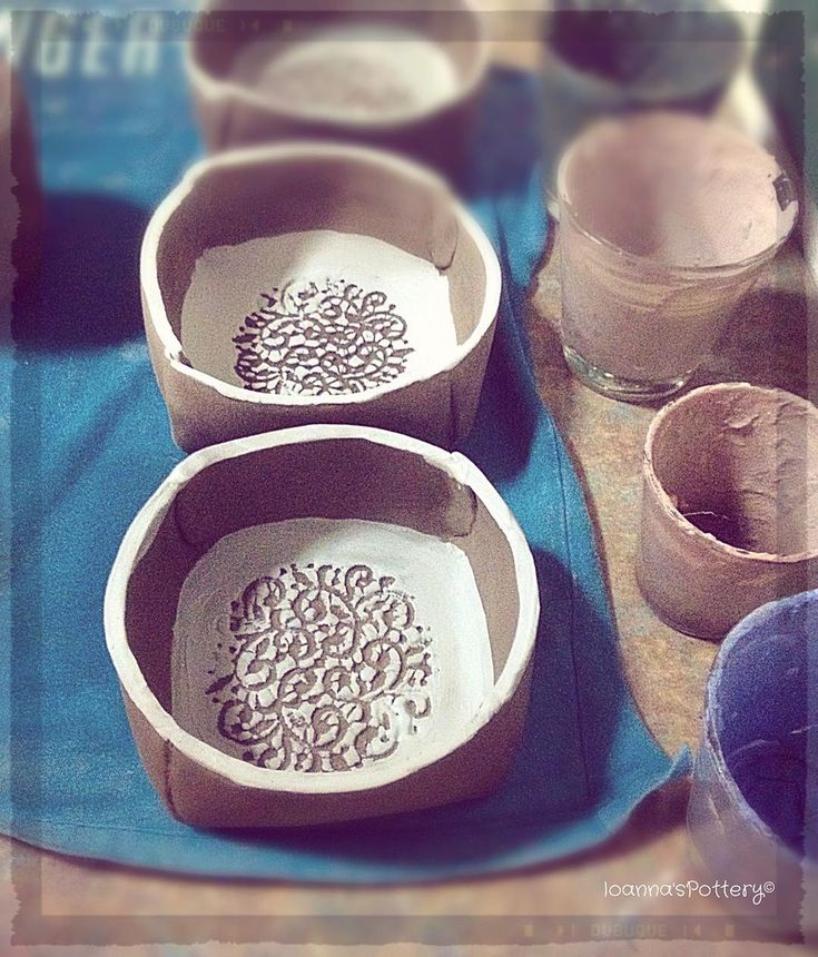 Today I made these beautiful bowls with a vintage lace pattern inside. All hand built, no wheels, no molds used. I'll let them dry overnight. After the first firing, the gray colour you see now on photo, will become white (it's the white clay I use) and the current white colour will turn into a sweet pastel baby-blue!